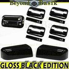 04-08 FORD F150 Crew GLOSS BLACK Door Handle COVERS w/PSK+Top Mirrors+Tailgate