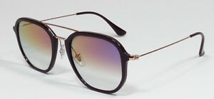 RAY BAN HIGHSTREET PILOT COPPER VIOLET GRADIENT SQUARE SUNGLASSES RB4273 6335S5