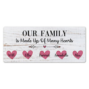 Metal Wall Sign - Personalised Our Family Is Made Up Of Many Hearts Gift Plaque