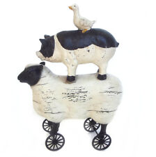 Sheep Pig Duck Statue Ornament Garden Art Figurine Stack on Wheels 21cm