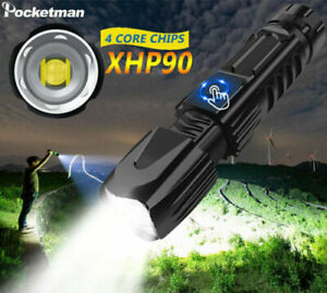 Powerful XHP90 Zoomable LED Flashlight Rechargeable Torch Camping Lamp 5 Modes