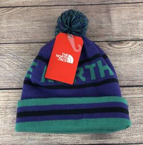 The North Face Beanie Toboggan Hat Pom - NEW Purple Teal Adult One Size Ski Tuke