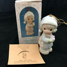 """Vintage Precious Moments """"May All Your Christmases Be White"""" Ornament with Box"""