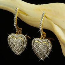 Herz Ohrringe Zirkonia weiß Echt 750 Gold 18 Karat vergoldet gelbgold O1038