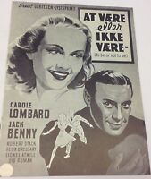 To Be or Not to Be Carole Lombard Jack Benny Stack Vtg 1942 Danish Movie Program