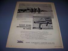 VINTAGE.....AVRO CF-100 .. SALES AD...RARE! (929G)