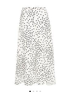 White Polka Dot Silky Midi Slip Skirt Sz 10 12 New