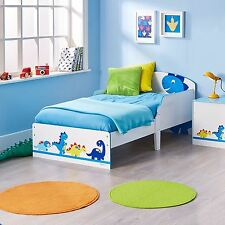 DINOSAURS TODDLER BED JUNIOR KIDS PROTECTIVE SIDE PANELS + FULLY SPRUNG MATTRESS