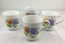 Set of 4 Corelle Corning Summer Blush Pansy Coffee Mugs Tea Cups Excellent