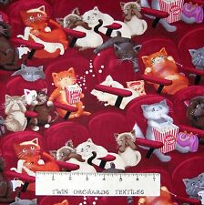 Animal Fabric - Scaredy Cats Movie & Popcorn Stripe - Timeless Treasures YARD