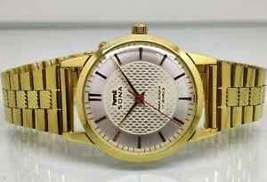 vintage hmt sona gold plated hand winding men silver super slim india watch