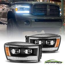 Fit 2006 2007 2008 Dodge Ram  LED DRL/Signal Black Projector Headlights Pair