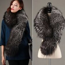 GENUINE REAL LONG( Vulpes vulpes) SILVER FOX FUR SCARF STOLE COLLAR WRAP SHAWL