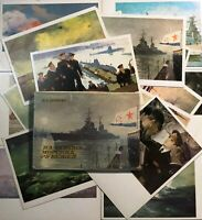 Postcards set On Guard for maritime borders Russian sailors Postcards lot 16 pcs