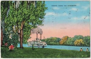 Coming Down The Mississippi - 1940 Vintage Postcard