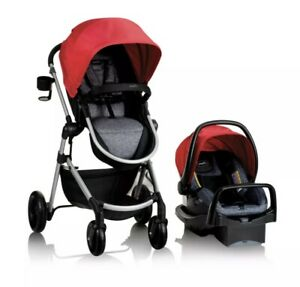 Evenflo Pivot Modular Travel System with Safemax Infant Car Seat, Salsa Red‼️✅🌟