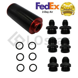 Black & Red Inline Fuel Filter High FLOW 100 Micron Cleanable SS AN6 AN8 AN10
