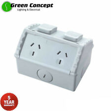 NEW 15A Weatherproof Double GPO Power Point Outlet 15Amp Weather Proof Socket