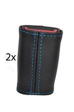 blue stitch FITS TOYOTA MR2 MK2 89-00  2X SEAT BELT STALK LEATHER COVERS