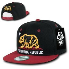 Black & Cardinal California Republic Bear Flat Bill Snapback Snap Back Cap Hat