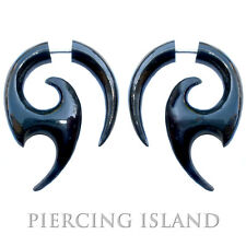 Paar ! Fake Piercing Sichel Ohrringe Geschraubt Horn Plug F052