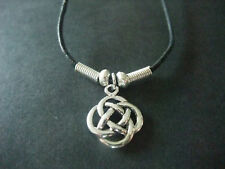 CELTIC MYSTICAL ROUND KNOT SILVER COLOUR CORD NECKLACE new gift pouch