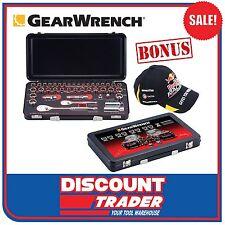 """GearWrench 42Pc 1/4"""" 3/8"""" Socket Set Metric SAE Metal Case Red Bull Cap 83050JW"""