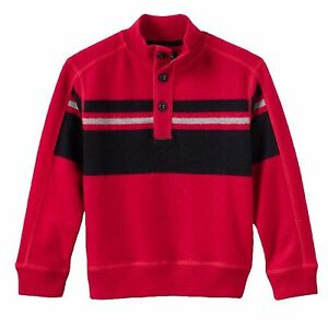 Chaps Boys Red Striped Fleece Pullover Top Sweater Size 4 5 6 NEW $42