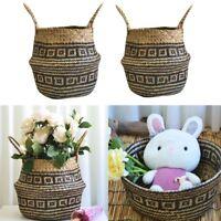 Seagrass Wicker Basket Wall Flower Pot Folding Dirty Clothes Doll Storage UK