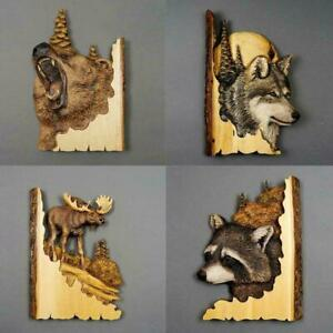 Wooden Wall Animal Bear Wolf Deer Statue Hand Carved Sculpture Y2A6