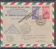MILAN SPECIAL FLIGHT POSTAL STAMP LUCCA 1947 XXII CONGRESS OF LUCCA