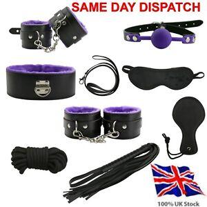 Bondage Set Kit Collar Restraint Blindfold Gag Cuff Whip Fetish BDSM Role Play