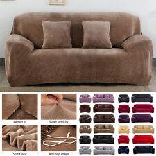 UK Easy Fit Sofa Slipcover Stretch Protector Velvet Plush Thick Cover Couch Soft