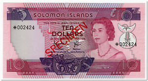 SOLOMON ISLANDS,10 DOLLARS,1977,P.7B,SPECIMEN 002424,UNC