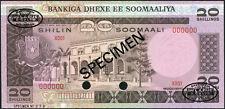 Somalia set of 2 notes 20 - 100 Shillings 1980 UNC - SPECIMEN with oval TDLR