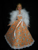 Orange /& White Ball Gown with Gold Sequins Made to Fit Barbie Doll
