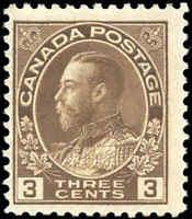 Mint H 1918 Canada F Scott #108c King George V Admiral Stamp