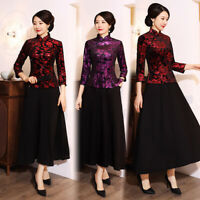 Chinese Traditional Blouse Women Velvet Shirt Lady Tops Size M-5XL