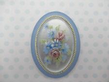 Vintage Cameos 40X30mm Floral Cabochons Rose Matte Blue Crystal Base German 1pc