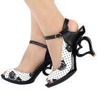 Sexy Black White Flower Bride Wedding Heart Heels Sandals Size 4/5/6/7/8/9/9.5