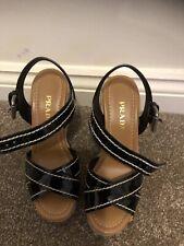 BNIB PRADA Black Patent Leather Wedges UK 4 37