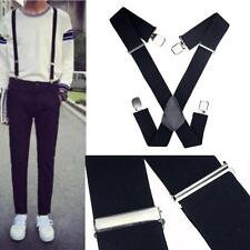 50mm Extra Wide Adjustable Elastic Mens Suspenders Clip-On Braces Trouser New MT