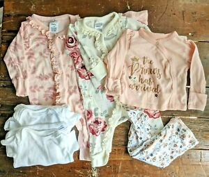 6 pcs 100% ORGANIC Cotton Gerber Baby Girls' Clothes 0-3m - Onesies Rompers