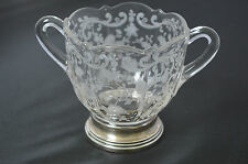 Antique Cambridge Chantilly Etched Crystal Sugar Dish with Sterling Base #Z1