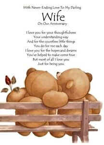To My Darling Wife On Our Anniversary A5 Card Love Wedding Anniversary