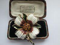 VINTAGE SIGNED JEWELCRAFT ENAMEL AND RHINESTONE FLOWER BROOCH SHAWL PIN