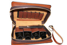 Genuine leather 4-pc Saxophone Mouthpiece Pouch 6-pc saxophone reed pouch bag