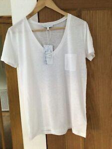 Warehouse White Linen Mix V Neck Short Sleeve T-shirt Size 10