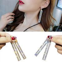 Women's 925 Silver Luxury Crystal Geometric Hoop Earrings Wedding Party Jewelry