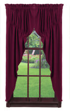 Olivia's Heartland country primitive Burgundy Wine Burlap PRAIRIE Curtains 72x63
